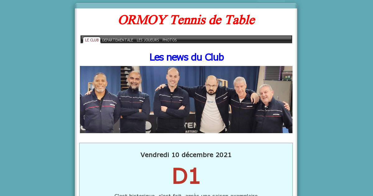 Ormoy tennis de table le club - Tennis de table classement individuel ...